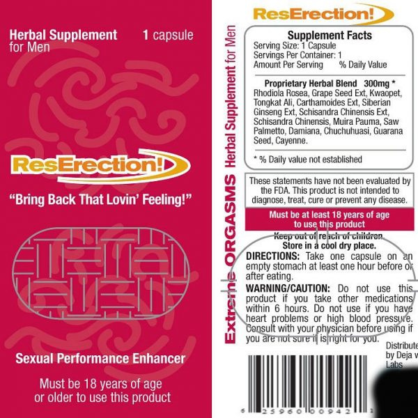 RESERECTION NATURAL HERBAL MALE SUPPLEMENT