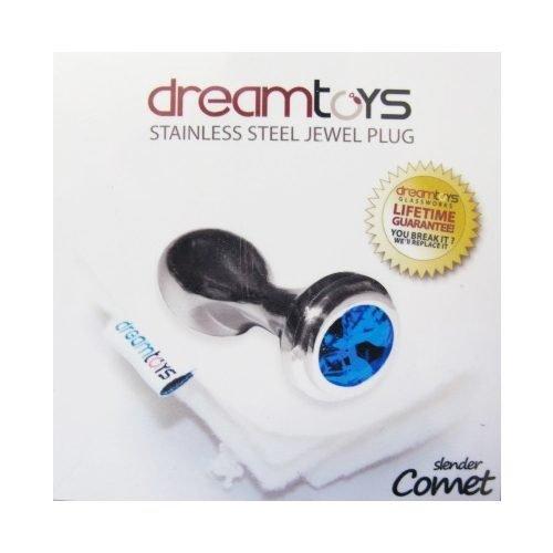 Stainless Steel Jewel Slender Comet Plug SM - Blue Sapphire-0
