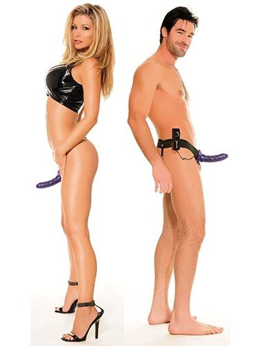 Vibrating Hollow Strap On Purple-0